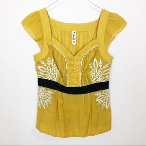 Anthro Floreat yellow embroidered peplum top
